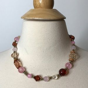 Rose Tone Nuetral Clear Bead Necklace Bohemian
